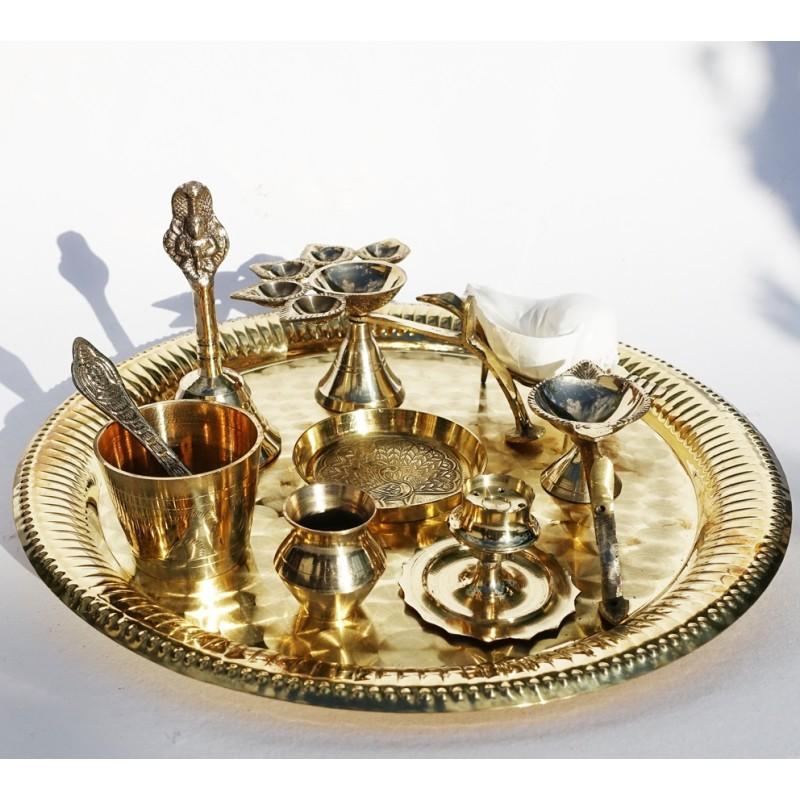 Arati Brass Thali Puja Set - Groß 28cm
