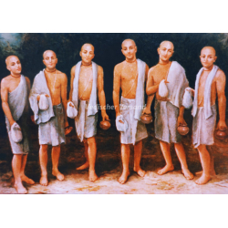 6 Goswamis mit Lota (Postk.)